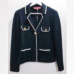 Vintage Manoukian Knit Navy Blazer Chanel-style